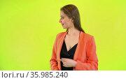 Woman point hand aside, show copy space advertisement, yellow space. Стоковое видео, видеограф Gennadiy Poznyakov / Фотобанк Лори