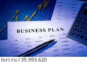 Business Plan mit Tabellen, Diagramm, einem Taschenrechner und Stift. Стоковое фото, фотограф Zoonar.com/ironjohn / easy Fotostock / Фотобанк Лори