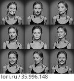 Serie of Emotional woman's faces. Torso portrait and natural make... Стоковое фото, фотограф Zoonar.com/© Dmitry Raikin / easy Fotostock / Фотобанк Лори