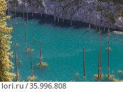 Горное озеро Кайынды в горах Тянь-Шаня. Стоковое фото, фотограф Михаил Старшов / Фотобанк Лори