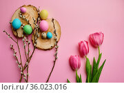 Willow, tulips and easter eggs on pink background. Стоковое фото, фотограф Tryapitsyn Sergiy / Фотобанк Лори