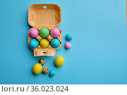 Colorful easter eggs in box on blue background. Стоковое фото, фотограф Tryapitsyn Sergiy / Фотобанк Лори
