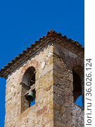 Rustic bell tower, Catalonia, Spain, Europe. Стоковое фото, фотограф Mehul Patel / age Fotostock / Фотобанк Лори