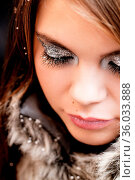 Beautiful silvery and glittery party makeup. Стоковое фото, фотограф Zoonar.com/Adrienn Orbánhegyi / age Fotostock / Фотобанк Лори