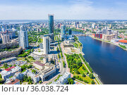 Panorama of Yekaterinburg city center and river Iset. View from above. Russia. Стоковое фото, фотограф Евгений Ткачёв / Фотобанк Лори