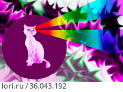 Pink cat with rainbows rays from eyes. Retro wave synth vaporwave... Стоковое фото, фотограф Zoonar.com/BASHTA / easy Fotostock / Фотобанк Лори