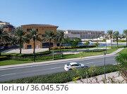 Doha, Qatar - Nov 23. 2019. Architecture of Qanat Quartier on Pearl Island. Редакционное фото, фотограф Володина Ольга / Фотобанк Лори