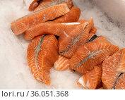 Many Steaks of salmon lie on ice. Стоковое фото, фотограф Володина Ольга / Фотобанк Лори