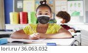 Portrait of mixed race schoolgirl wearing face mask in classroom looking at camera. Стоковое видео, агентство Wavebreak Media / Фотобанк Лори