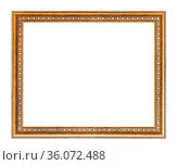 Empty wide golden carved wooden picture frame with cut out canvas... Стоковое фото, фотограф Zoonar.com/Valery Voennyy / easy Fotostock / Фотобанк Лори