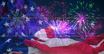 Composition of american flag billowing over colourful fireworks in night sky