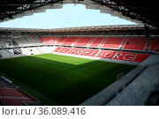 Blick ins weite Rund der neuen Spielstätte des SC Freiburg Das neue... Стоковое фото, фотограф Zoonar.com/Joachim Hahne / age Fotostock / Фотобанк Лори