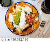 Nachos, mexican spicy food with corn chips. Стоковое фото, фотограф Яков Филимонов / Фотобанк Лори