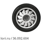 Sports car wheel on a light alloy rim isolated on white. Стоковое фото, фотограф EugeneSergeev / Фотобанк Лори