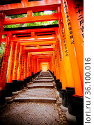 Kyoto, Japan - May 15 2019: Red Tori Gate at Fushimi Inari Shrine... Стоковое фото, фотограф Zoonar.com/Chris Putnam / easy Fotostock / Фотобанк Лори