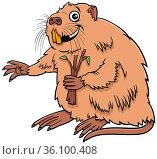 Cartoon illustration of nutria or coypu comic animal character. Стоковое фото, фотограф Zoonar.com/Igor Zakowski / easy Fotostock / Фотобанк Лори