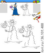 Cartoon illustration of drawing and coloring educational activity... Стоковое фото, фотограф Zoonar.com/Igor Zakowski / easy Fotostock / Фотобанк Лори