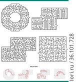 Illustration of black and white mazes leisure game graphs set with... Стоковое фото, фотограф Zoonar.com/Igor Zakowski / easy Fotostock / Фотобанк Лори