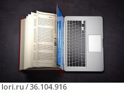 Online library or E-learning concept. Open laptop and book compilation. Стоковое фото, фотограф Maksym Yemelyanov / Фотобанк Лори