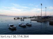 """Croatia, Volosko - Evening dusk in the harbour of the fishing village Volosko at the Adriatic Sea (Kvarner Bay)"" (2016 год). Редакционное фото, агентство Caro Photoagency / Фотобанк Лори"