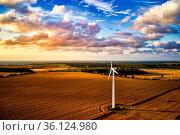 Wind turbine power generator on a field in harmonic mood atmosphere. Стоковое фото, фотограф Zoonar.com/Stefan Dinse / easy Fotostock / Фотобанк Лори