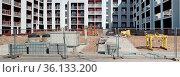 VILNIUS, LITHUANIA - APRIL 04, 2020: The unfinished construction site... Стоковое фото, фотограф Zoonar.com/Aleksandr Volkov / easy Fotostock / Фотобанк Лори