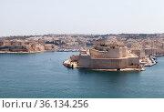 Fort St. Angelo. A bastioned fort in Birgu, Malta (2019 год). Стоковое фото, фотограф EugeneSergeev / Фотобанк Лори