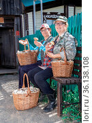 two beautiful mature women sit on a bench near the house with baskets of mushrooms on an autumn sunny day. Стоковое фото, фотограф Акиньшин Владимир / Фотобанк Лори
