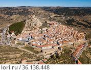 Aerial view of Morella with castle. Стоковое фото, фотограф Яков Филимонов / Фотобанк Лори