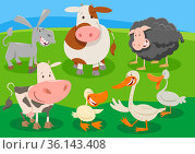 Cartoon illustration of farm animal characters group in the countryside... Стоковое фото, фотограф Zoonar.com/Igor Zakowski / easy Fotostock / Фотобанк Лори