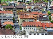 View for strictly geometrically designed city center of La Chaux-... Стоковое фото, фотограф Danuta Hyniewska / age Fotostock / Фотобанк Лори