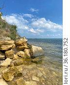 Скалистый берег Керченского пролива. Стоковое фото, фотограф Мария Кылосова / Фотобанк Лори