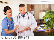 Experienced doctor advising female colleague about diagnosis of patient. Стоковое фото, фотограф Яков Филимонов / Фотобанк Лори