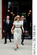 EXCLUSIVE Jennifer Lawrence seen leaving the Costes Hotel in Paris... Редакционное фото, фотограф WENN.com / age Fotostock / Фотобанк Лори