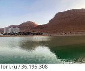 View of the resort area of Ein Bokek at the Dead Sea. Редакционное фото, фотограф Irina Opachevsky / Фотобанк Лори