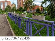 Декоративный фиолетовый забор с белыми вазонами  во дворе жилого дома в микрорайоне летом. Стоковое фото, фотограф Светлана Попова / Фотобанк Лори