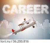 Businessman flying in career concept. Стоковое фото, фотограф Elnur / Фотобанк Лори