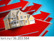 House on red arrows. Real estate price increases. Growth of real estate market concept. Стоковое фото, фотограф Maksym Yemelyanov / Фотобанк Лори