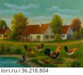 Ölgemälde - Hühner und Enten an einem Teich vor einem Bauernhof. Стоковое фото, фотограф Zoonar.com/Christian Länger / easy Fotostock / Фотобанк Лори