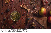 Herbal tea steeping. Cozy home presentation. Стоковое фото, фотограф Данил Руденко / Фотобанк Лори