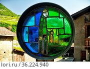 In the city of Saillon legend of Farinet - Swiss Robin Hood is still... Стоковое фото, фотограф Danuta Hyniewska / age Fotostock / Фотобанк Лори