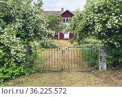 Iron gate in front of a villa. Renemo 5. Sjögetorp, Ödeshög, Östergötland... Стоковое фото, фотограф Andre Maslennikov / age Fotostock / Фотобанк Лори