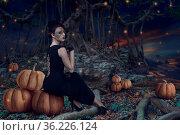 Design of Halloween woman sitting in dark mystic forest at night time. Стоковое фото, фотограф Zoonar.com/Svetlana Radayeva / easy Fotostock / Фотобанк Лори