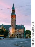 Национальный музей Финляндии. Хельсинки, поздним вечером. (2013 год). Стоковое фото, фотограф Геннадий Соловьев / Фотобанк Лори