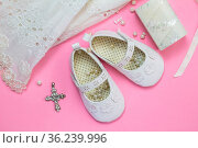 Baptism dress, shoes, crystal cross pendant, pearls and little mother... Стоковое фото, фотограф Zoonar.com/Tosca M White / age Fotostock / Фотобанк Лори