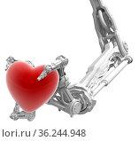 Robotic arm with three fingers white, holding red heart Valentine... Стоковое фото, фотограф Zoonar.com/Viktors Ignatenko / easy Fotostock / Фотобанк Лори