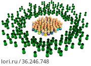 Crowd of small symbolic figures, virtual characters, 3d illustration... Стоковое фото, фотограф Zoonar.com/Viktors Ignatenko / easy Fotostock / Фотобанк Лори