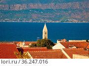 Town of Supetar and Brac island channel view, Dalmatia region of Croatia... Стоковое фото, фотограф Zoonar.com/Dalibor Brlek / easy Fotostock / Фотобанк Лори