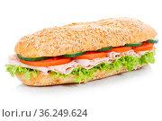 Brötchen Sandwich Vollkorn Baguette belegt mit Schinken freigestellt... Стоковое фото, фотограф Zoonar.com/Markus Mainka / easy Fotostock / Фотобанк Лори