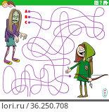 Cartoon illustration of lines maze puzzle game with girls in costumes... Стоковое фото, фотограф Zoonar.com/Igor Zakowski / easy Fotostock / Фотобанк Лори